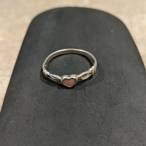 Sterling Silver Ring with Pink Heart